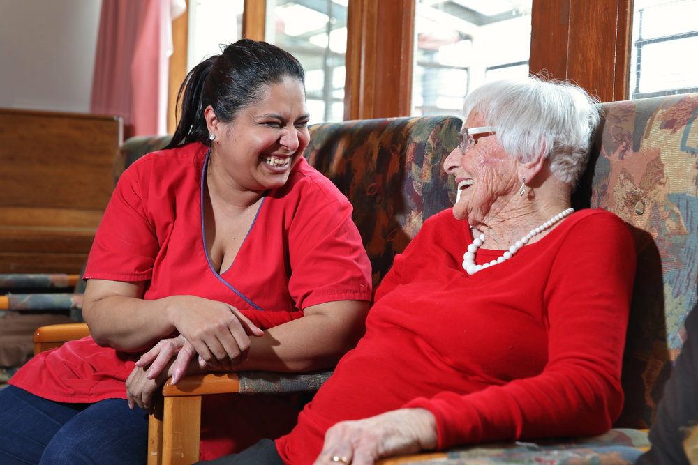 Care staff enjoy chatting with our residents