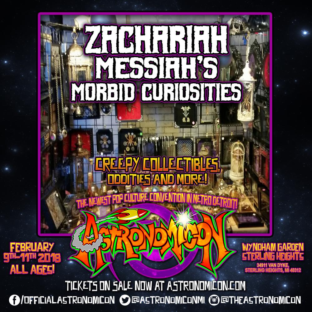 Zachariah Messiahs Morbid Curiosities   https://www.facebook.com/Zachariah-Messiahs-Morbid-Curiosities-182179628492191/
