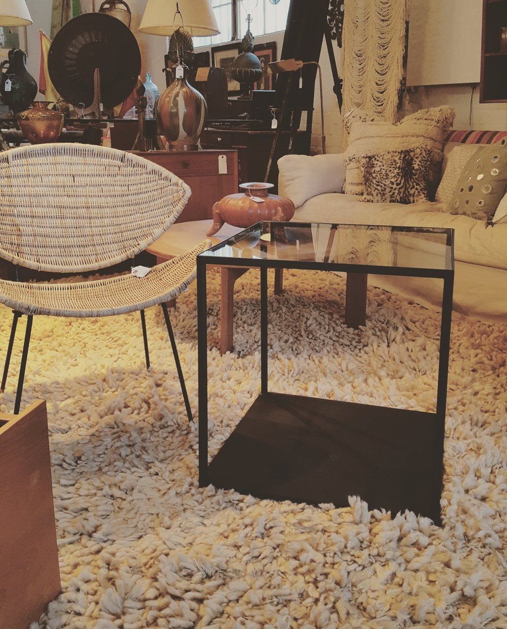 Estate Sale Co. Los Angeles - Shown in the picture, is a set of end tables made specifically for her location. Her store has some of the best inventory for your home, and they have sales also! Check out her store on Instagram @popuphome!Radweld Customs and Estate Sale Co. are currently designing and fabricating their first run of custom furniture pieces specifically for a new line that will be retailed through our website and their store front location.