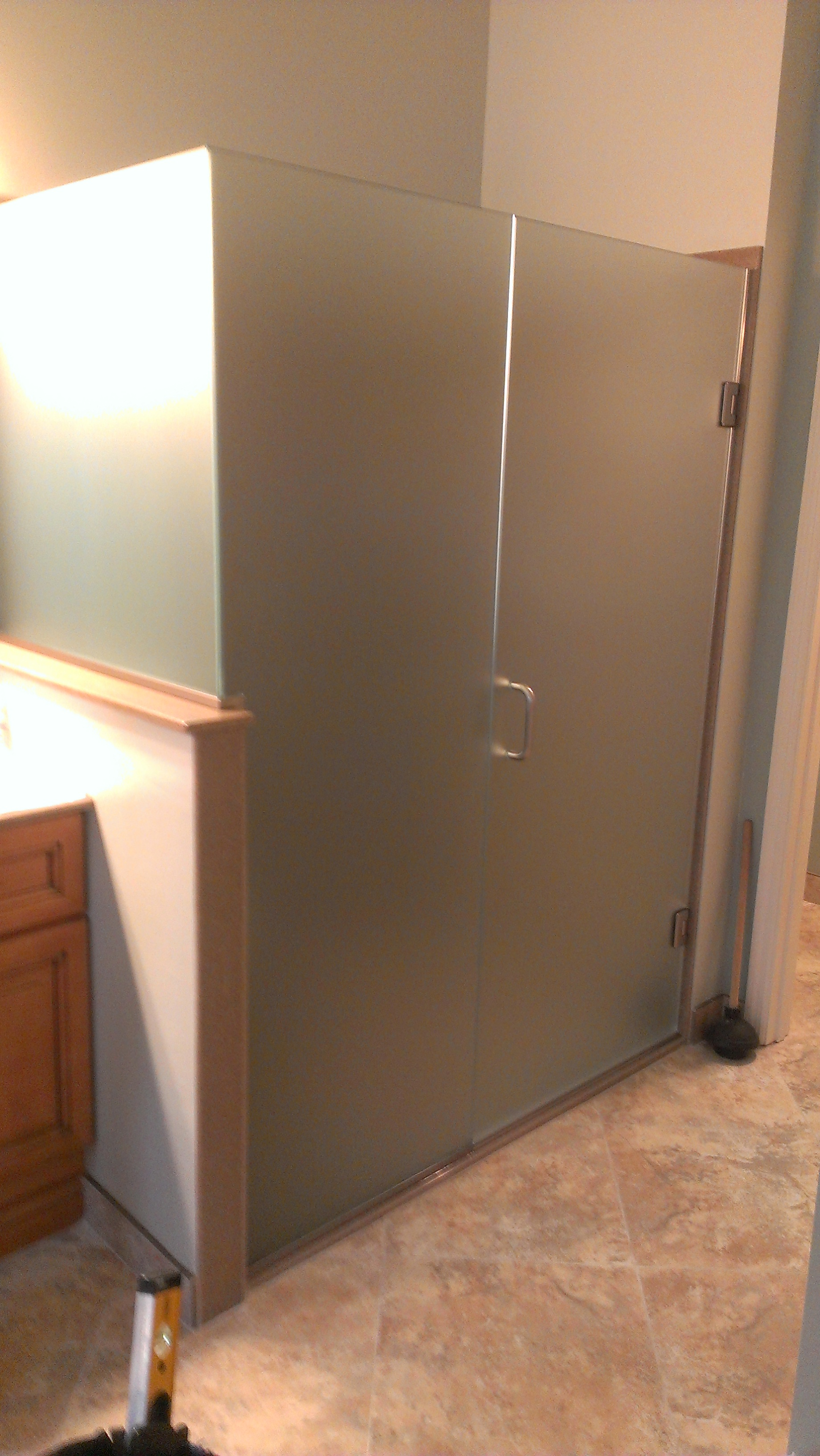 Heavy Glass Shower Doors With A Return Panel And No Header H H