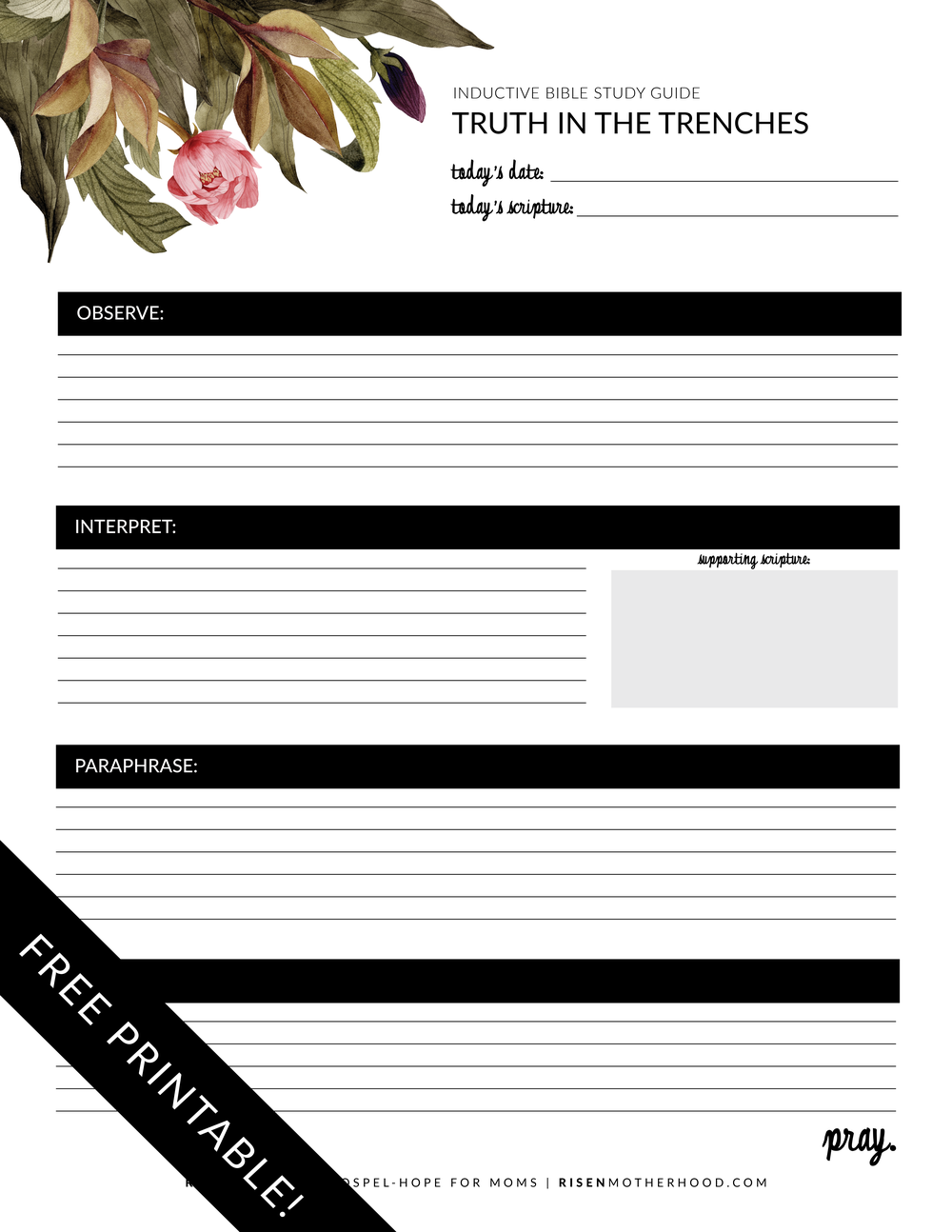 Free Printable Inductive Bible Study Worksheets Companion Card