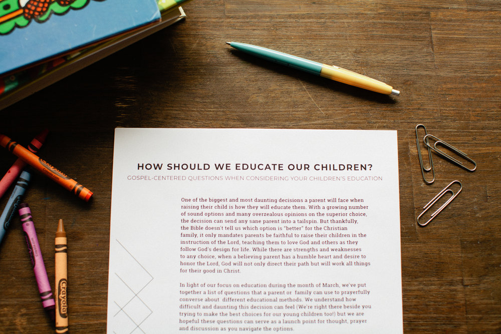 HOW SHOULD WE EDUCATE OUR CHILDREN?   - In light of our focus on education during the month of March, we've puttogether a list of questions that a parent or family can use to prayerfullyconverse about different educational methods. We understand howdifficult and daunting this decision can feel (We're right there beside youtrying to make the best choices for our young children too!) but we arehopeful these questions can serve as a launch point for thought, prayerand discussion as you navigate the options.This is a free, downloadable PDF. Please print as many as you like, and feel free to share this resource with your friends. If you choose to link to this document, please link to this page, rather than directly to the PDF.