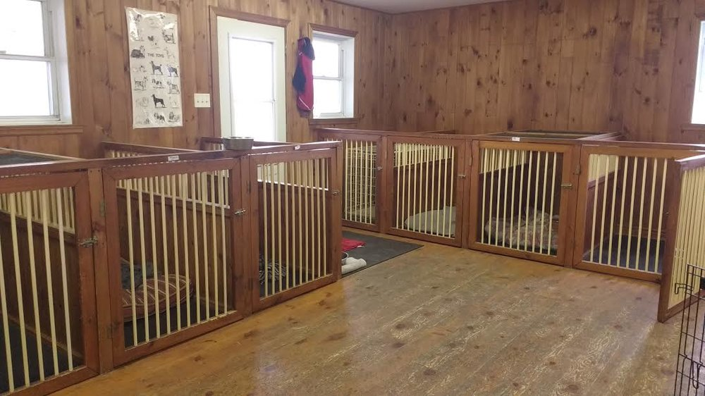 Our custom made wood stalls are designed for the utmost comfort of your dog