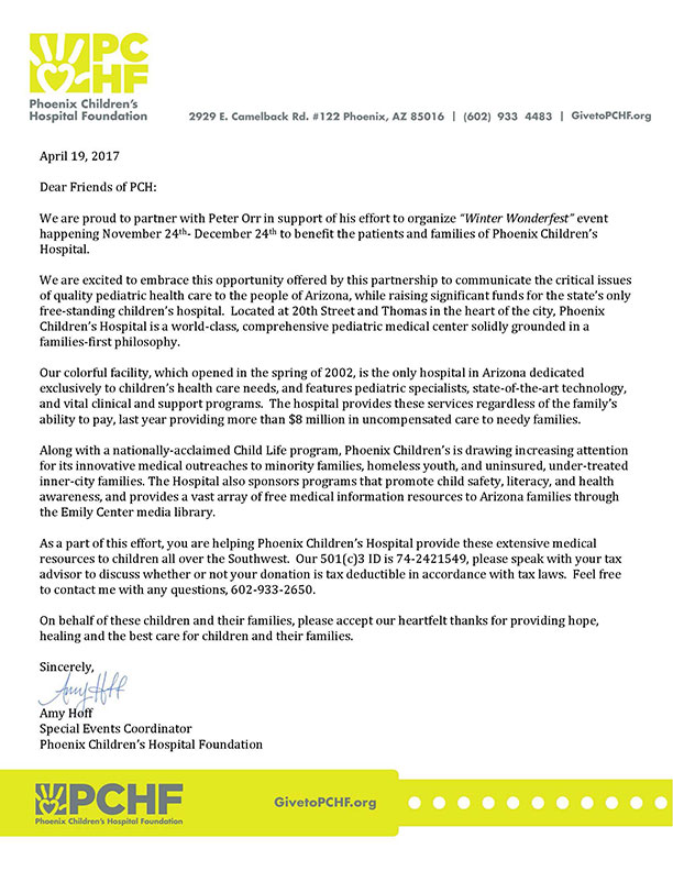 Endorsement letter from the Phoenix Children's Hospital