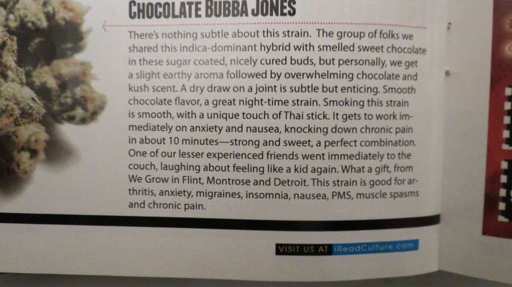 This was a review of Bud White's Chocolate Bubba Jones in Culture magazine grown by bud white