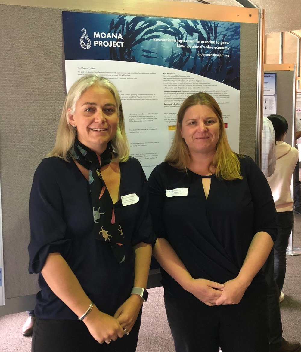 Prof Moninya Roughan, Chief Scientist MetOcean Solutions and Sally Garrett, Research Lead New Zealand Defence Technology Agency.