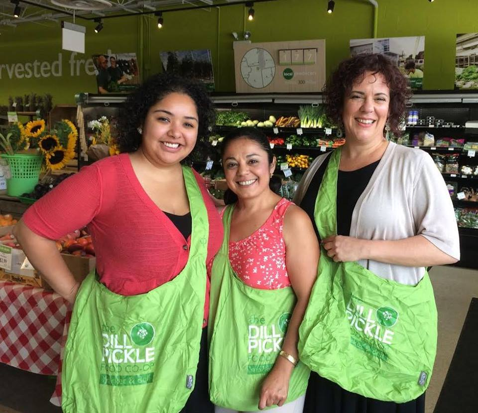 Lissette of the Center for Changing Lives   ,    Norma of the Logan Square Neighborhood Association, and Rebecca of La Casa Norte   '   s Northwest Food Partners Network.