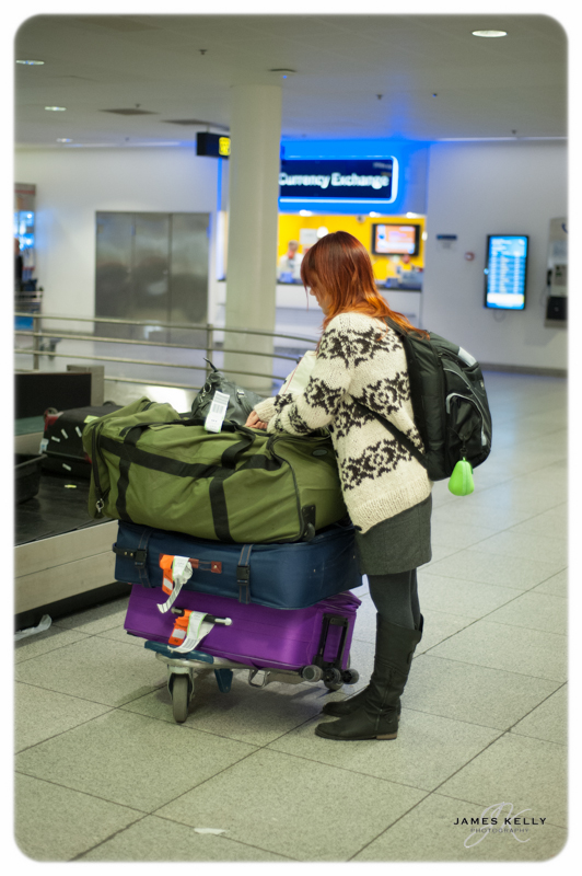 Iris with our baggage at Copenhagen Airport. 22-12-12