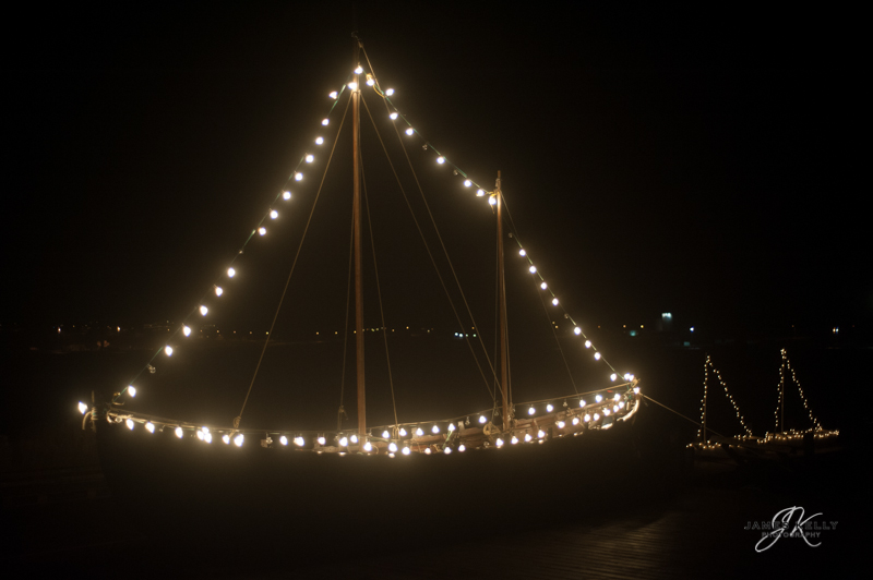 Little boats all lit up for Christmas Faroe Islands 2012