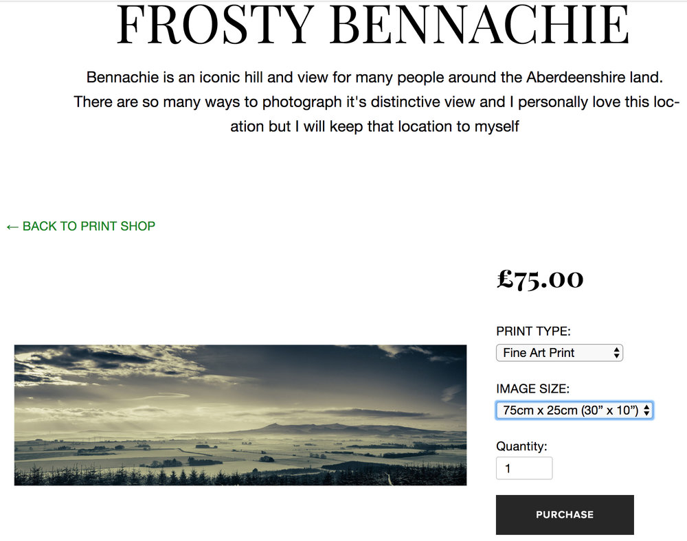 "HOW TO SHOP ONLINE    Go to the photo  gallery , by clicking on thumbnail to be taken to its own page.  On right, drop down menu where you can select the medium type.  Then below, select the size of your print, click to ""add to cart"" button to add the photo to the shopping cart"