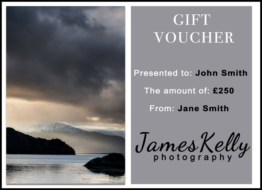 GIFT VOUCHER    Vouchers are laminated and presented in an embossed envelope. They can be purchased for any amount over £30 and used as part or full payment for any of my workshops or fine art prints. There is no expiry date. All gift vouchers can be sent either directly to you or the person receiving the voucher.    Read More >