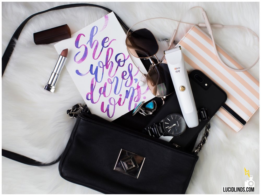 The flat lay shot drives home the idea of your favorite product being an essential, just like your lipstick and sunglasses. This shot also shows off the size of the product. Plus these are hugely popular on social media and  Pinterest .