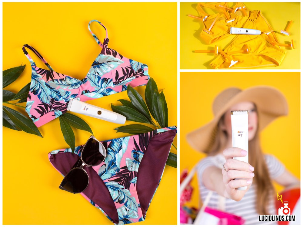 These 3 shots show that the trimmer is for the bikini-clad, beach-bound woman. Plus the bright yellow will no doubt grab attention anywhere online.