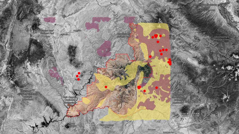 Resource Extraction - These areas have a long history of mining and drilling. The sites in purple are existing extraction facilities. The red represents uranium mines and the yellow shows potential mining areas.