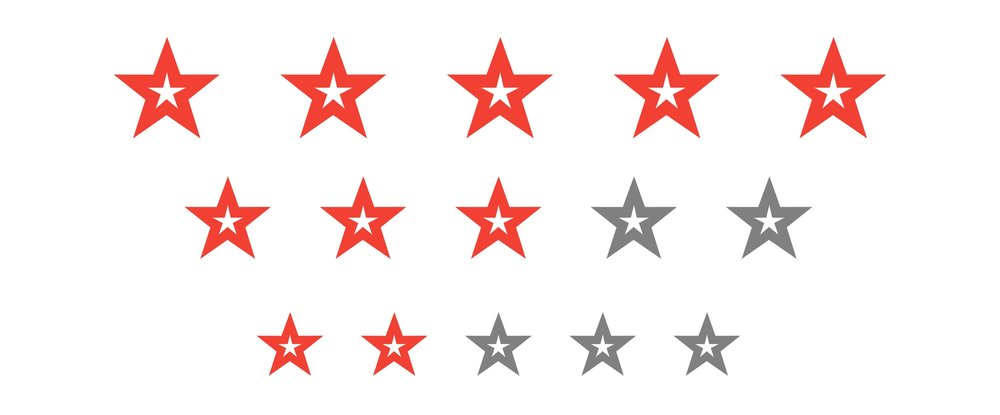 An image depicting stars from customer reviews.