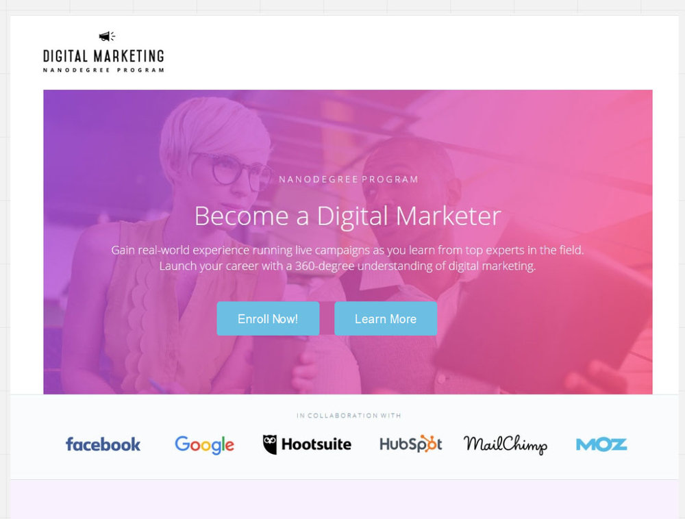 Become a Digital Marketer, my suggestion to improving the website UI