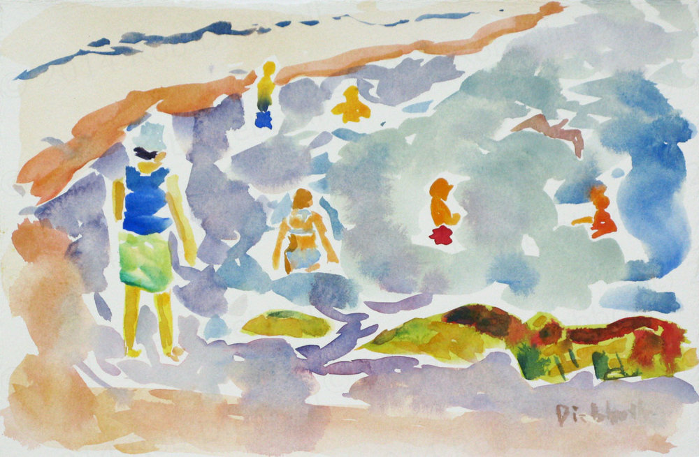 Cape Hedge Swimming, 7.5 x 11, watercolor