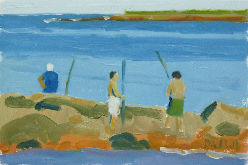 Fishing at Pebble, 7.5 x 11, oil on paper