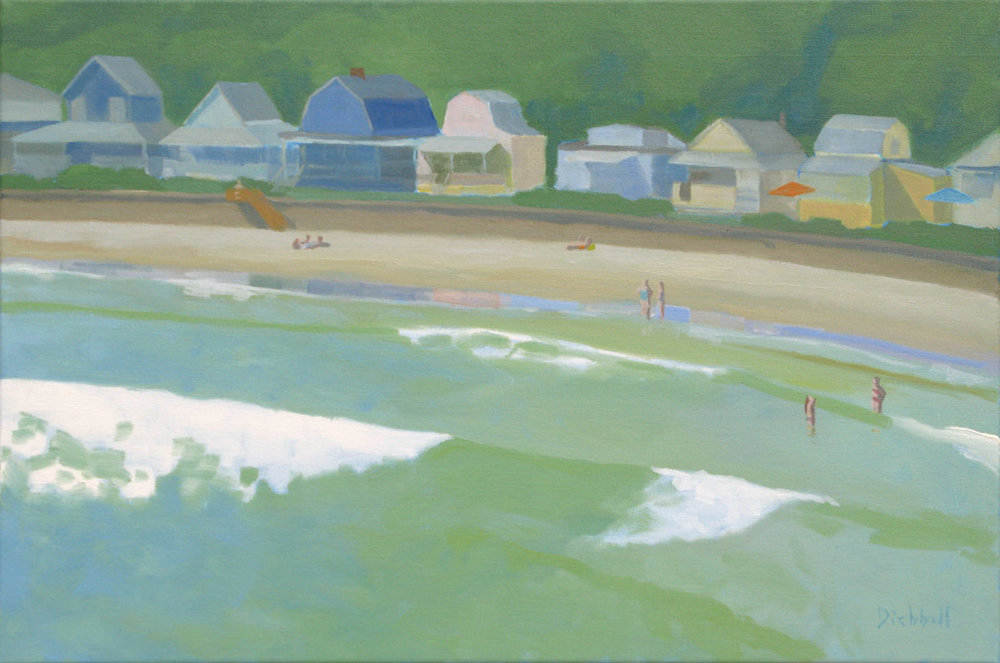 Long Beach Cottages,  20 x 30, oil on linen, © 2015 Rob Diebboll