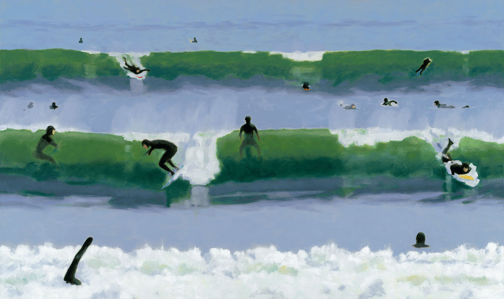 Storm Surfers - 35 x 59 - oil on linen