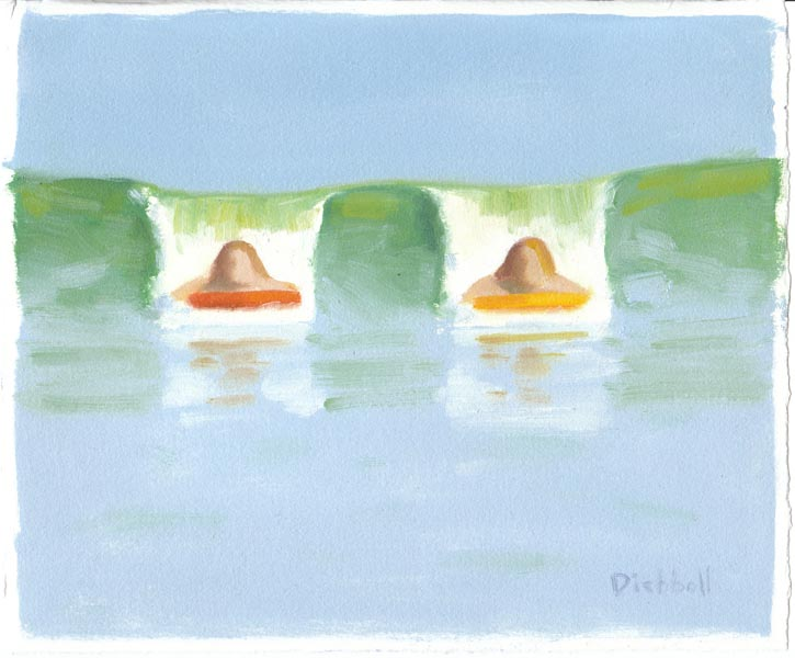 Two Skimboards, 8 x 10, oil on paper