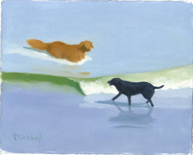 Two Labs, 8 x 10, oil on paper