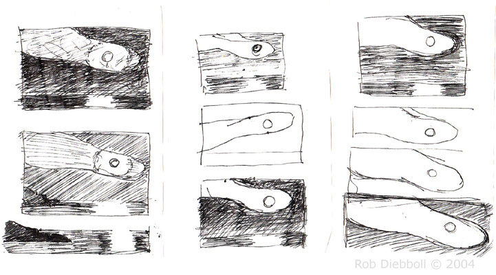 "Good Harbor Moon sketches, pen on paper, 3 @ 3.5""x5.5"""