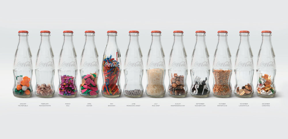 Coke bottles converted to percussion instruments based on the festivities of the month