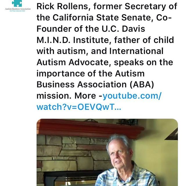 Rick Rollens, former Secretary of the California State Senate, Co-Founder of the U.C. Davis M.I.N.D. Institute, father of child with autism, and International Autism Advocate, speaks on the importance of the Autism Business Association (ABA) mission. More - https://www.youtube.com/watch?v=OEVQwTbc33U
