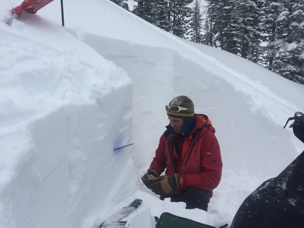Joe Stock of the Alaska Avalanche School takes snowpack observations during the American Avalanche Association's pro trainer workshop in Jackson Hole, WY.
