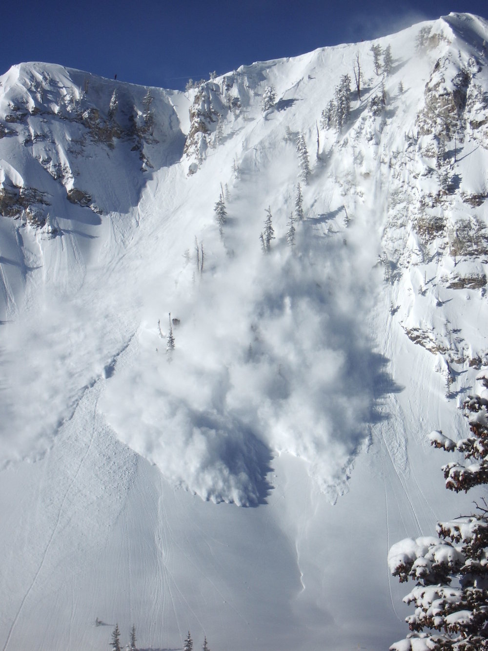 Avalanche Control in progress on Fantasy Ridge.  Solitude, UT.  Photo: Jonathon Spitzer.