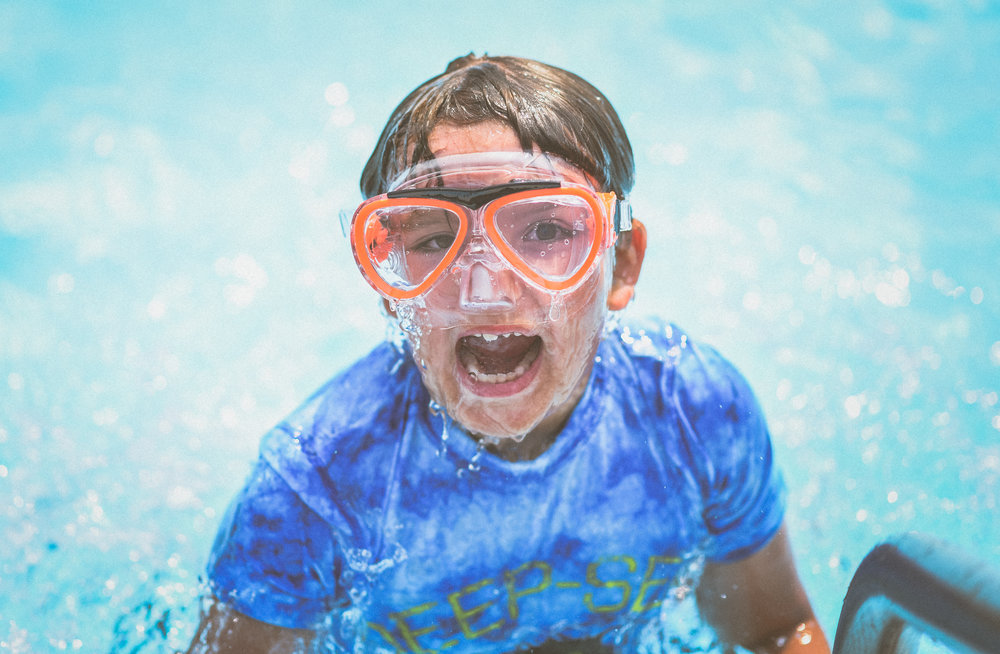 Andrew, 8, poses for a portrait while playing in the water at the Armstrong-Spallumcheen Parks and Recreation Centre in Armstrong on Aug.8, 2019. Andrew and his mom, Gaby, are residents of Vernon but visit the outdoor pool often.