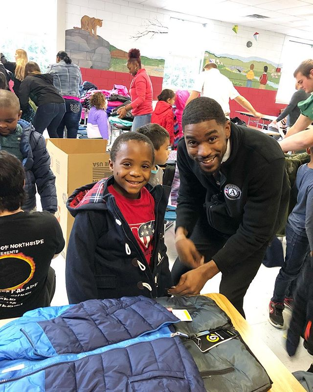 @naguito_minded  proving a this amazing young man at Burlington Elementary School a brand new coat.! #keepgiving #thehumblehustleco