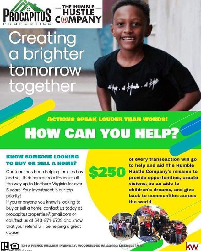 Every kid deserves to feel clean, fresh and excited to go out in the world ! The Humble Hustle Co.has partnered with ProCapitus Properties to provide young boys and girls in the Roanoke Valley hygiene items, socks, t-shirts and other necessities for this season! This team is helping us help young people in the area. If you are looking to buy a home in the near future this is the team you need, every transaction starting after their event will get THHC,Inc. $250.  #keepgiving