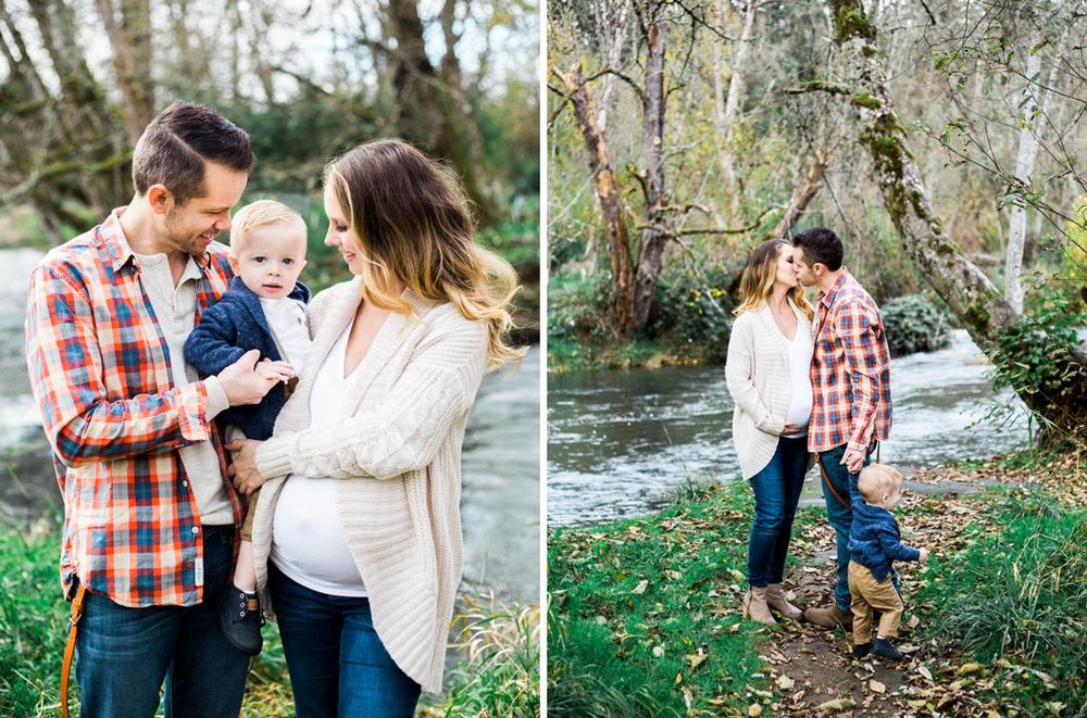 Fall/Winter portraits with cozy sweater texture and plaid fits the surroundings perfectly. Notice that the plaid on Dad is pretty bold, so Mama chose a simple solids for herself and her son.