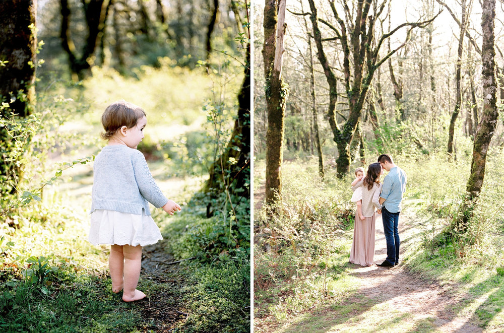 Utilizing neutrals is a great idea when in very green, PNW environments. Imagine if this little girl and her parents were wearing green, they would be camoflauged!
