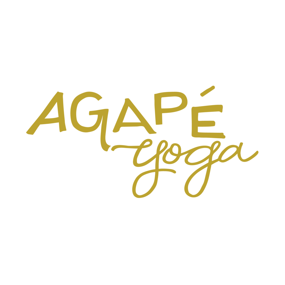 Agapé Yoga Studios - logo for a local yoga studio that featureshand-drawn type and script.