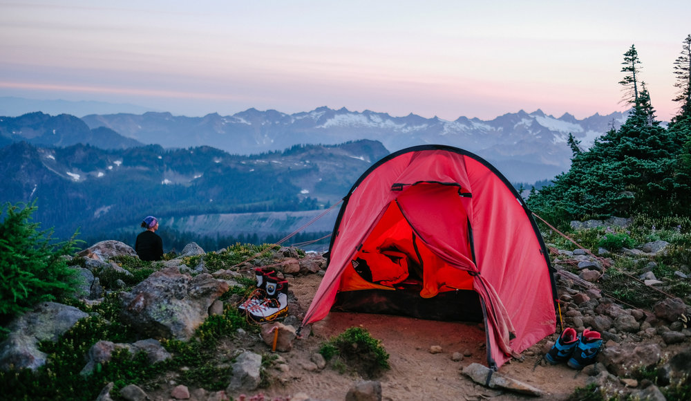 watching the sun set over the Cascades from camp at the base of the Squak Glacier on Mt. Baker