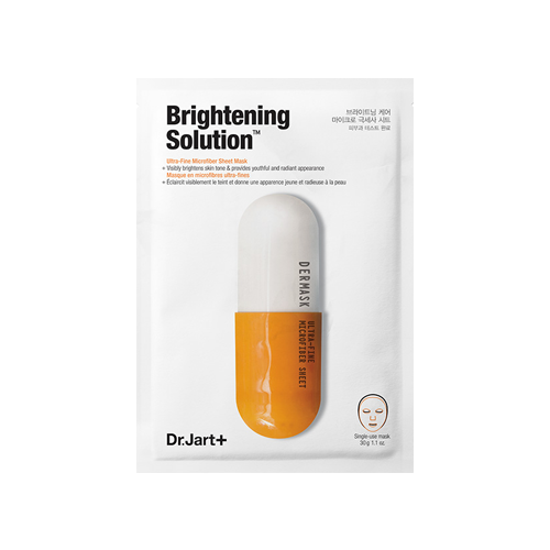 What is it?   The Dr. Jart Dermask Brightening Solution Sheet Mask luxuriously delivers essential ingredients for the ultimate brightening benefits. It contains glutathione, niacinamide and α-bisabolol, which help to even out skintone and brighten the appearance of dark spots and discoloration.   How to use?   1. After cleansing, tone the skin.  2. Remove liner and apply mask with the liner side to the skin.  3. Leave on for 10 to 20 minutes.  4. Remove mask and pat any remaining essence into skin.