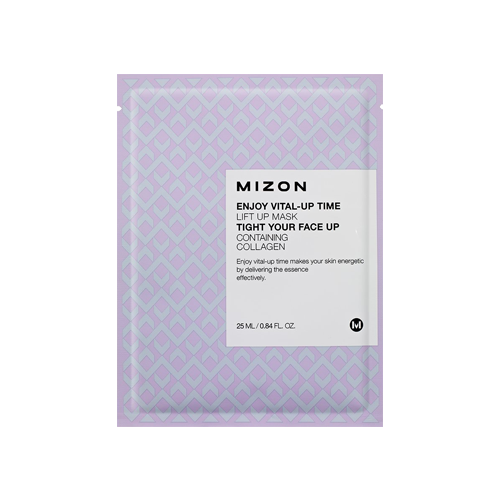 What is it?   The MIZON Enjoy Vital-Up Time Lift Up Mask is formulated with Collagen to tone and tighten the skin, while Allantoin and Hyaluronic Acid hydrate and nourish dry skin. This microfibre sheet mask helps minimise the appearence of fine lines and wrinkles for a smoother complexion.   How to use?   1. After cleansing, tone the skin.   2. Apply mask.  3. Leave on for 10 to 20 minutes.  4. Remove mask and pat any remaining essence into skin.