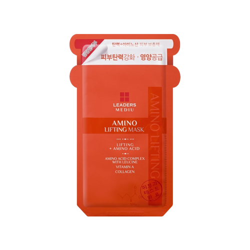 What is it?   The Leaders Mediu Amino Lifting Mask contains amino acid complex, leucine, vitamin A and collagen to reduce the appearence of wrinkles and fine lines.It also effectively adjusts the pH of skin's protein components to maintain moisture balance.   How to use?   1. After cleansing, tone the skin.  2. Apply mask.  3. Leave on for 15 to 20 minutes.  4. Remove mask and pat any remaining essence into skin.