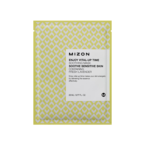 What is it?   The MIZON Enjoy Vital-Up Time Soothing Mask contains vitamin E, allantoin, and hyaluronic acid to help reduce the appereance of fine lines. It also contains lavender extract to soothe sensitive and irritated skin.   How to use?   1. After cleansing, tone the skin.   2. Apply mask.  3. Leave on for 10 to 20 minutes.  4. Remove mask and pat any remaining essence into skin.