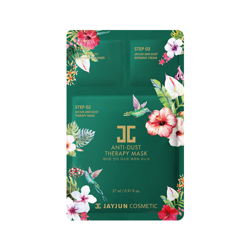 What is it?   The JAYJUN Anti-Dust Therapy Mask gives you firm and clear skin by soothing irritated skin from external factors and strengthening the skin barrier. As well as a sheet mask, this pack includes a cleanser and moisturiser.   How to use?   1. Cleanse your skin with the Step 1 Anti Dust Fresh Foam Cleanser and rinse off.  2. Apply the Step 2 mask and leave it on for 10 to 20 minutes.  3. Remove mask and pat any remaining essence into skin.  4. Apply the Step 3 Anti Dust Intensive Cream evenly to your entire face.