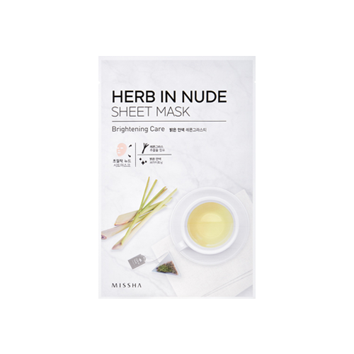 What is it?   The Missha Herb In Nude Sheet Mask (Brightening Care) contains a strong brew of lemon grass ingredients to brighten skin and boost radiance. The naturally-derived cellulose sheet is extremely thin and transparent and effectively adheres to the skin without slipping.   How to use?   1. After cleansing, tone the skin.  2. Apply mask.  3. Leave on for 15 to 20 minutes.  4. Remove mask and pat any remaining essence into skin.