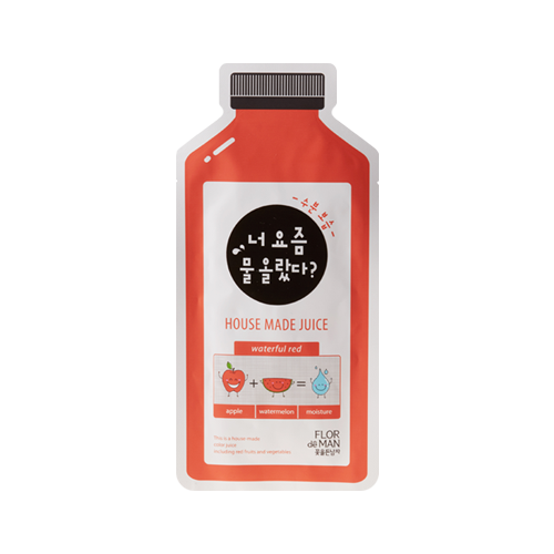 What is it?   The Flor de Man Housemade Juice Waterful Red Sheet Mask is a 100% cotton sheet that contains red apple and watermelon extract and provides intense hydration to rough and dry skin.    How to use?   1. After cleansing, tone the skin.   2. Apply mask.  3. Leave on for 15 to 20 minutes.  4. Remove mask and pat any remaining essence into skin.