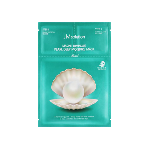 What is it?   This JMsolution Marine Luminous Pearl Deep Moisture Mask is a 3-step mask that contains triple hyaluronic acids, marine collagen and pearl extract. These powerhouse ingredients help to deeply hydrate the skin and reveal a smooth, glowing complexion.   How to use?   1. After cleansing, apply the Step 1 Essence.  2. Apply the Step 2 Mask.  3. Leave on for 10 to 20 minutes.  4. Remove mask and apply the Step 3 eye cream.