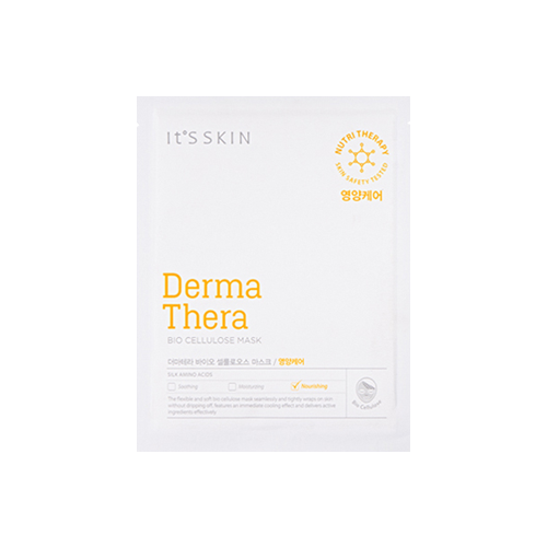 What is it?   The Derma Thera Bio Cellulose Mask by It's Skin contains silk amino acids that deliver rich nutrition and hydration to the skin while also improving skin texture. The thin elatic sheet adheres  to the skin seamlessly and also provides a cooling effect.   How to use?   1. After cleansing, tone the skin.  2. Unfold the mask and remove the protective film from one side. Apply the mask and remove the outer backing layer.  3. Leave on for 15 to 20 minutes.  4. Remove mask and pat any remaining essence into skin.