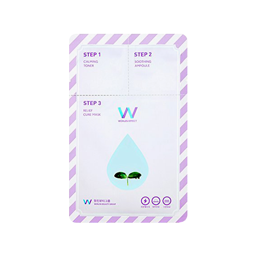 What is it?   The Wonjin Effect Relief Cure Mask is 3-step mask that helps soothe sensitive skin irritated by external factors. It contains 20 Herb Complex ingredients to help calm irritation, strengthen the skin's barrier and protect from external stimuli.    How to use?   1. After cleansing, tone the skin with the Step 1 Calming Toner.  2. Apply the Step 2 Soothing Ampoule  3. Apply the Step 3 Relief Cure mask and leave on for 10 to 20 minutes.  4. Remove mask and pat any remaining essence into skin.
