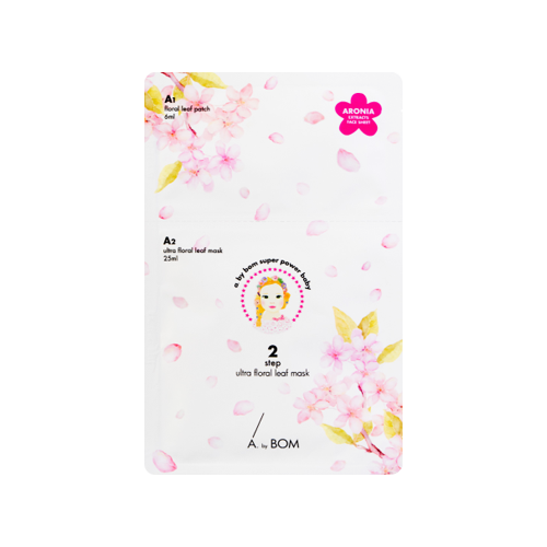 What is it?   The A.by Bom Ultra Floral Leaf 2-Step Mask hydrates, brightens and helps reduce the appearence of fine lines and wrinkles. The Step 1 floral patches contain sakura and peach flower ingredients to brighten and firm skin, while the Step 2 sheet mask contains rose, lotus and camellia extracts to hydrate and nourish.   How to use?   1. After cleansing, tone the skin.  2. Apply the Step 1 floral leaf patches on the cheeks or forehead as needed.  3. Apply the Step 2 mask on top and leave on for 10 to 20 minutes.  4. Remove the mask and patches and pat any remaining essence into skin.