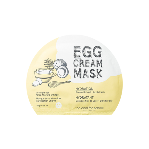 What is it?   The Too Cool For School Egg Cream Hydration Mask contains egg extracts, coconut water and niacinamide to hydrate, nourish and brighten skin. It's perfect for dry, sensitive and combination skin.   How to use?   1. After cleansing, tone the skin.  2. Remove protective mesh and apply mask.  3. Leave on for 10 to 20 minutes.  4. Remove mask and pat any remaining essence into skin.